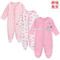 El precio al por mayor de alta calidad del color rosado del niño infantil oneise witner de manga larga 100% algodón de los bebés bebé floral mameluco