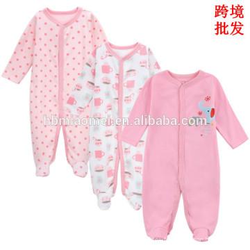 Haute qualité en gros prix rose couleur infantile bambin oneise witner à manches longues 100% coton bébé filles floral bébé barboteuse