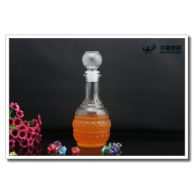 500ml High Quality Embossed Glass Liquor Bottle with Original Lid