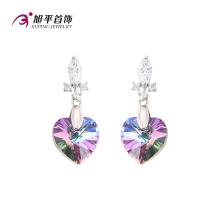 E-128 Xuping cristales en forma de corazón CZ de Swarovski elegante gota en el oído