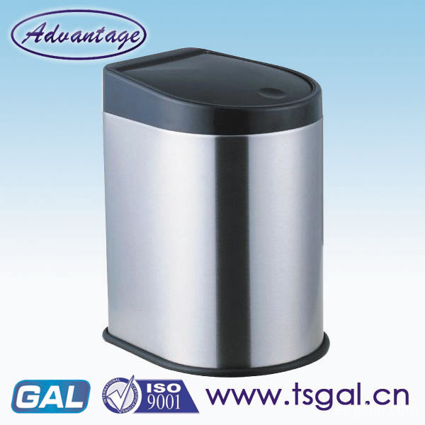 stainless steel hand press trash can