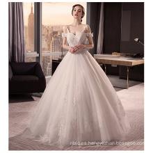 2017 magnífica correa de espagueti Bowknot encaje Appliqued abierto atrás vestido de boda vestido de bola en línea