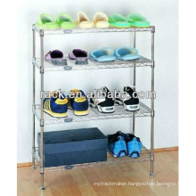 Flat 4 Tiers Adjustable Metal Shoe Rack (LD603590B4C)