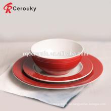 Restaurant Hotel Catering verwendet rote Farbe Keramik Steinzeug Abendessen gesetzt