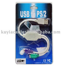 Novo PS2 teclado e mouse cabo para usb conversor cabo adaptador para laptops e desktops