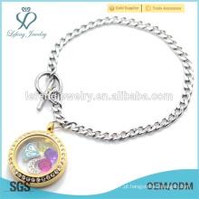 Moda em aço inoxidável cubano cadeia com aço inoxidável 316l pulseira locket ouro