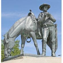 grandes décorations extérieures métal artisanat western cowboy statues pour jardin