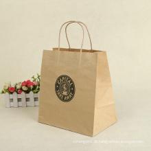Sacos de papel por atacado de Kraft para a sacola de compras dos presentes