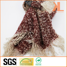 Acrylic Fashion Lady Quality Striped Wide Woven Scarf with Fringe