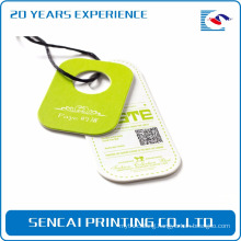 SenCai green grass color round tag with black plastic handle