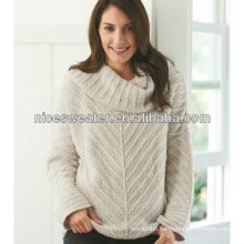 Long sleeves cowl neck women's chunky sweater