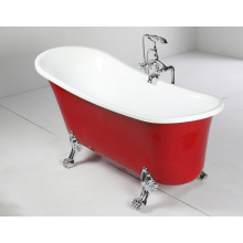 Red 1500mm Clawfoot Freestanding Bathtub