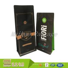 Personalizado imprimió material de grado alimenticio Gusset Standup Zipper Flat Bottom Coffee Pouch Valve