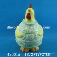 Decoración de Pascua frasco de almacenamiento de cerámica con la estatuilla de gallo