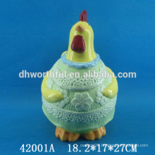 Easter decoration ceramic storage jar with cock figurine