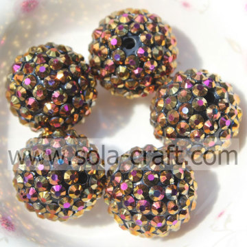 20 * 22mm solido AB oro resina strass palla perline per fare collana grosso
