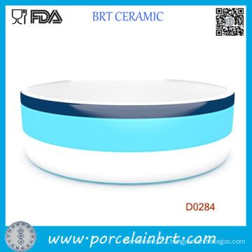Small Red Round Shape Customized Logo Ceramic Pet Bowl