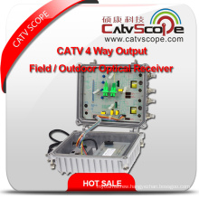 Professional Supplier High Performance CATV 4 Way Output Field / Outdoor Optical Receiver