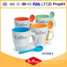 Hot Selling Ceramic Mug With Spoon Sample Cute Cup White coffee mug