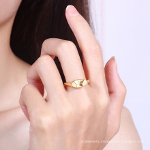 Amazon hot selling gold butterfly  couple ring stainless steel golden plated dome minimalist hip hop ring jewellery women