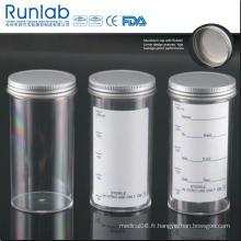 Conteneurs d'échantillons de 250 ml approuvés par la FDA et la CE avec bouchon en métal