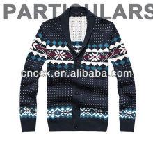 O floco de neve 12STC0703 imprimiu o teste padrão feito malha camisola do casaco de lã dos homens