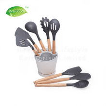 Beech Wood Silicone Kitchen Utensils With Holder