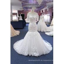 Meerjungfrau Kurzarm plus Größe Hochzeitskleid