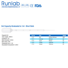 Pipetas de transferencia de bulbo de capacidad de 3ml con graduación