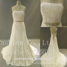 Sweetheart backless lace mermaid heavy bead belt wedding dress 2017