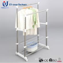 Poteau Double en acier inoxydable Clothes Hanger avec maille supplémentaire