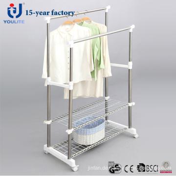 Edelstahl Doppel Pole Kleidung Kleiderbügel mit zusätzlichen Mesh