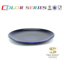 Blaues Geschirr setzt billige handgemalte keramische Plattenfarbplatte
