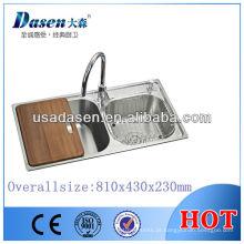 DS8143L aço Inoxidável máquina da pia da cozinha feita dupla tigela