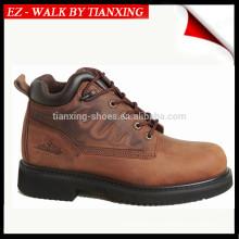 Zapatos elásticos de seguridad elástica con punta de acero y cuero genuino