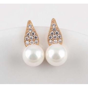 Silver Cubic Zirconia Crystal Diamond Stud Dangle Gold Earrings