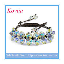 Fashion jewelry red yellow green crystal shamballa bracelet