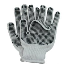 nano mètre les deux côtés PVC points tricoté polycoton gants de construction