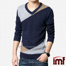 Pull en tricot personnalisé en cachemire à manches différentes pour hommes