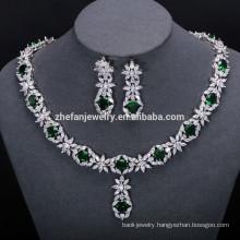 Fashion Flower Shape Copper Pendant jewellery set, fashion jewelry set, indian american diamond necklace sets
