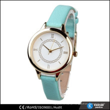 round case mint color leather strap lady wrist watch quartz