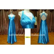 Glänzendes blaues backless und X-back Parteikleid für Frauen KMP153