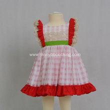 baby summer dress pink check lace dress