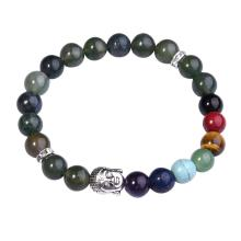 Aquatic Agate Bracelet Buddha 7 Chakra Gemstone Alloy Beads Jewelry