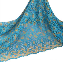 African wedding aso ebi style guipure embroidery lace fabric polyester and metalic cord lace fabric for nigerian market