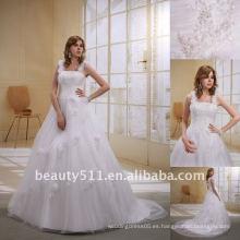 Astergarden flor de moda correa de tul de una línea de vestido de novia vestido de novia AS022