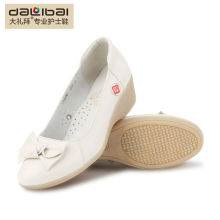 Sapatos de enfermeira de couro genuíno branco para as mulheres