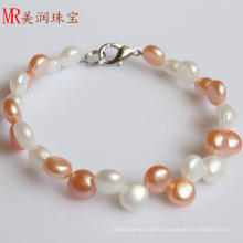 6-7mm Fashion Coin Freshwater Pearl Bracelet (EB1558-1)