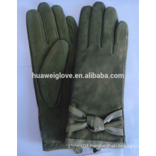 Army green women fashion suede leather goatskin gloves made in China