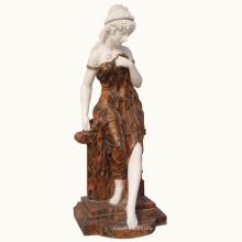 decoração interior e exterior ocidental bela mármore escultura senhora estátua pedra